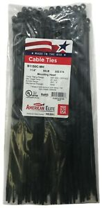 100 Black Mounting Head Hole 11 Inch Nylon Cable Wire Wrap Zip Ties 50 Lb Usa