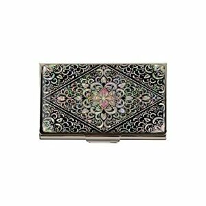 Business Name Card Holder Stainless Steel Case Mother Of Pearl Art Arabesque