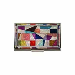 Business Name Card Holder Stainless Steel Case Mother Of Pearl Art Patchwork