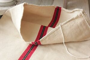 Vintage Grainsack Grain Sack Feed Bag Red Black Fustian Cotton Linen Fabric