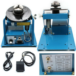 110v Rotary Welding Positioner 2 10 R min Turntable Table Mini Jaw Lathe Chuck