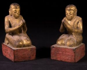 19th Century Antique Pair Of Monk Statues From Burma Antique Buddha Statues