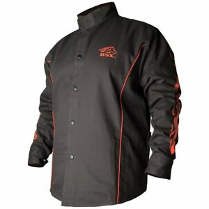 Black Stallion Bsx Fr Welding Jacket Black W red Flames Medium