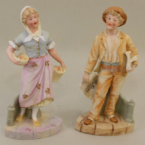 Pair Of Antique German Bisque Figurines Heubach Man Woman 11 Marked