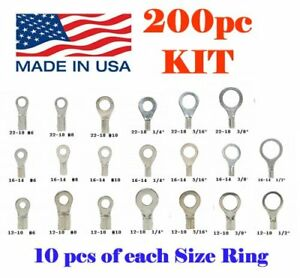 200 Non insulated Ring Wire Terminal Connector Kit 22 18 16 14 12 10 Awg Usa