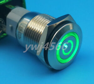 10pcs Metal Green Led Push Button Self locking Switch 16mm Led Light On off