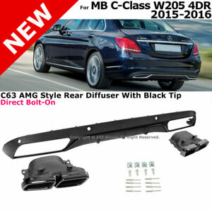 Rear Diffuser Black Muffler Tips C63 Style 2015 2016 Mercedes Benz Luxury Pack