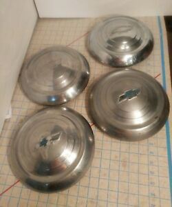Set Of Four Chevrolet Hub Cap 10 Wheel Cover Dog Dish 1950 S Vintage Free Ship