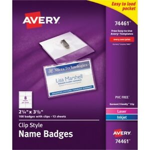 Name Badges w Clip top Load 2 1 4 x3 1 2 100 bx white Ave74461