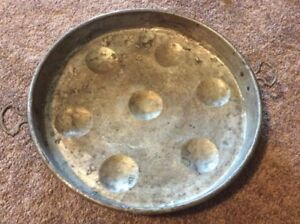 Large Heavy Copper Brass Round Serving Bowl Tray Platter 17 X 2 Silver