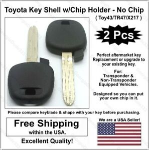 2pak New Toyota Aftermarket Key Shell W Chip Holder No Chip