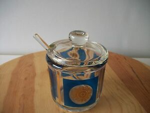 New Glass Crystal Caviar Condiment Dish With Lid And Spoon No Box Store Display