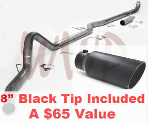Turbo Back Down Pipe Exhaust Kit 8 Black Tip For 98 02 Ram Cummins 5 9l Diese
