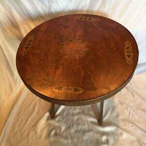Vintage 1940 25 Round Wood Folding Game Living Room Center Table Made In Italy