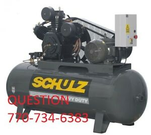 Schulz Air Compressor 15hp 3 phase 120 Gallons Tank 208 230 460 Volts New
