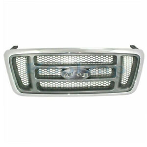 04 08 F150 Pickup Truck Front Grill Grille Assembly Chrome Gray Honeycomb Insert