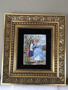 Rare Antique Painting On Porcelain Framed Victorian Signed Rs