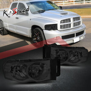 Smoked Clear Corner Oe Style Headlight Lamps For 02 05 Dodge Ram 1500 2500 3500