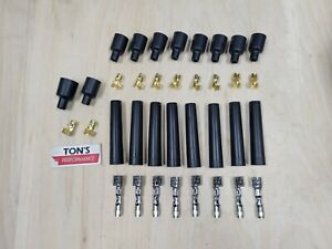 8 Cylinder 7mm 8mm Rubber Spark Plug Boot Kit Stainless Brass Ends Coil Wire