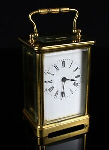 R Co Paris C19th French Brass Glass Enamel Dial Travel Carriage Clock Case