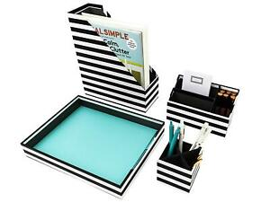 Home Office Desk Organizer Set Of 4 Horizontal Stripes Black White