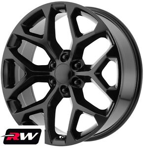 20 Inch Chevy Silverado 1500 Wheels Gloss Black 20x9 Snowflake Ck156 Rims 6x5 50