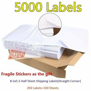 5000 8 5x5 5 Shipping Labels Half Sheet Self Adhesive Usps Ups Fedex Paypal