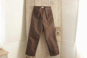 Linen Pants Vintage Men S French Work Wear Brown 32 Inch Waist Unused Workwear