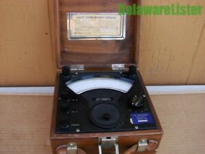vintage Radio Freg Milliammeter Model Rf Wooden Case Handle