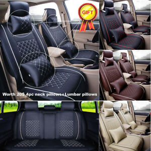Full Set 5 seats Car Seat Cover Front rear Cushion 100 Pu Leather W 4pc Pillows