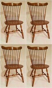 Free Shipping Genuine Ethan Allen Nutmeg Set 4 Solid Maple Windsor Era Chairs