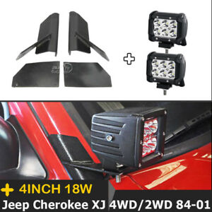 Pair 4 Inch 18w Led Lights Bar Mount Brackets Fit For Jeep Cherokee Xj 1984 2001