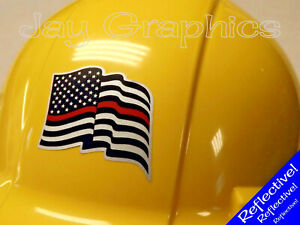 Reflective Firefighter American Flag Hard Hat Sticker Usa Helmet Rescue Decal