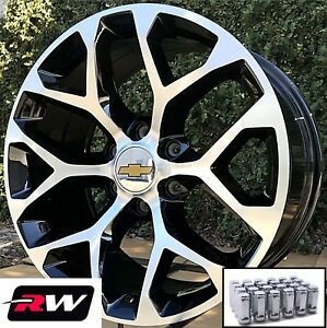 20 Inch Chevy Silverado 1500 Wheels Black Machined Snowflake Rims