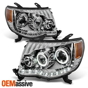 Fit 2005 2011 Toyota Tacoma Replacement Amber Led Dual Halo Projector Haedlights
