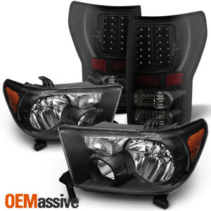 Fits 07 13 Toyota Tundra Black Headlights Black Smoked Led Tai