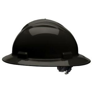 Bullard Full Brim Hard Hat With 4 Point Ratchet Suspension Black