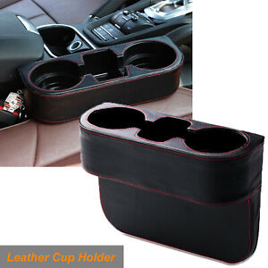 Car Seat Seam Wedge Storage Leather Organizer Cup Holder Drink Phone Mount Stand