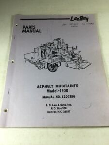 Leeboy Model 1200 Asphalt Maintainer Parts Manual