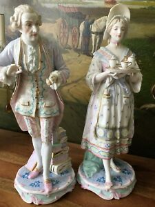 19th C Antique French Pair Vion Baury Porcelain Figures Statues