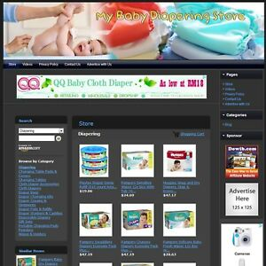 Baby Diapering Store Affiliate Website Business For Sale free Domain hosting