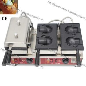 Commercial Nonstick Electric Ice Cream Bear Shaped Waffle Baker Machine Maker