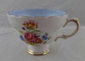 1 Only Vintage Rosina Blue Tone Floral Center And Gold Gild Trim Tea Cup