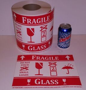500 Jumbo Large Fragile Glass Intl Symbol Stickers Labels Pallet Size Warning