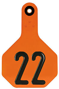 All American Livestock Tag Numbered Medium Orange 25 pk