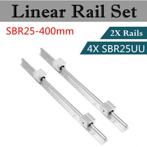 2set Sbr25 400 Linear Rail Fully Supported Shaft Rod Slide Guide Sbr25uu