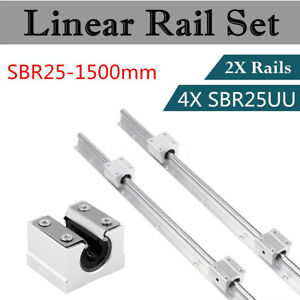 Shaft Rod Slide Guide Sbr25 1500 Fully Supported For Cnc 2set Linear Rail