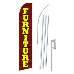 2x Furniture Sale Flag Swooper Feather Sign Weatherproof Banners 15 Kit 2 brn