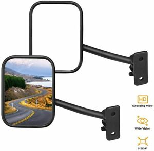 Quick Release Mirror Pair For Jeep Wrangler Tj Jk Rectangular 1997 2018
