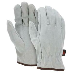 12 Pairs Mcr Safety Split Cowhide Leather Work Gloves